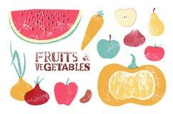 Colección de frutas y verduras retras Ilustración del vector Fotos de archivo libres de regalías