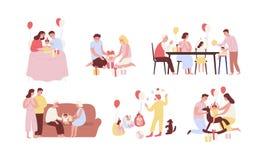 Colección de gente que celebra el primer cumpleaños de su bebé Paquete de escenas del partido de la familia con la abertura infan ilustración del vector