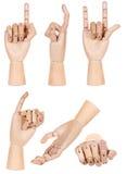Colección de gesto de mano humano de madera simulado aislada imagenes de archivo