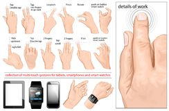 Colección de gestos multi-touch Imagen de archivo libre de regalías