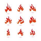 Colección de gráfico del logotipo del fuego y de las llamas stock de ilustración