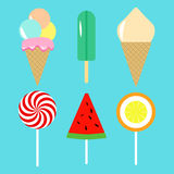 Colección de helado en fondo azul ilustración del vector
