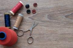 Colección de herramientas del sastre Foto de archivo libre de regalías