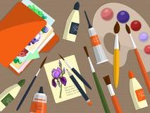 Colección de herramientas y de carpeta de dibujo con los papeles en la tabla Vector Fotografía de archivo libre de regalías