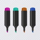 Colección de highlighters brillantes y coloreados con las marcas, marcadores realistas en el fondo transparente, vector stock de ilustración