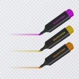 Colección de highlighters brillantes y coloreados con las marcas, marcadores realistas en el fondo transparente, vector libre illustration
