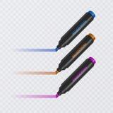 Colección de highlighters brillantes y coloreados con las marcas, marcadores realistas en el fondo transparente, vector ilustración del vector
