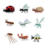 Colección de historieta de los insectos Fotografía de archivo libre de regalías