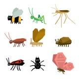Colección de historieta de los insectos Fotos de archivo libres de regalías