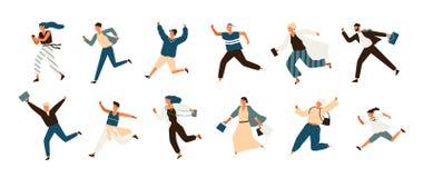 Colección de hombres alegres y de mujeres corrientes vestidos en ropa casual Fije de gente sonriente divertida en prisa o prisa libre illustration