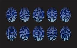 Colección de huellas dactilares de diversos tipos aislados en fondo negro Paquete de rastros de cantos de la fricción del ser hum ilustración del vector