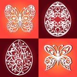 Colección de huevos de Pascua para el corte del laser Mariposas decorativas para el corte del laser ilustración del vector