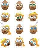 Colección de huevos quebrados y rotos de la historieta Imagen de archivo libre de regalías