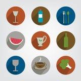 Colección de icono de la comida y de la bebida ilustración del vector