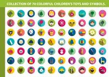Colección de icono plano de los niños coloridos Fotografía de archivo libre de regalías