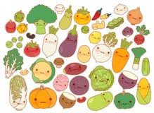 Colección de icono precioso de la fruta y verdura, zanahoria linda, nabo adorable, tomate dulce, patata del kawaii, maíz femenino Foto de archivo libre de regalías