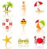 Colección de iconos coloreados de la playa. Foto de archivo libre de regalías