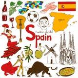 Colección de iconos de España stock de ilustración