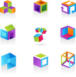 Colección de iconos/de insignias abstractos del cubo Imagen de archivo