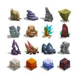 Colección de iconos de la decoración para los juegos Sistema de piedras de la historieta Imágenes de archivo libres de regalías