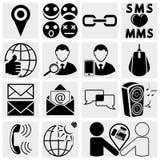 Web, iconos sociales móviles del vector de los medios fijados. Fotografía de archivo