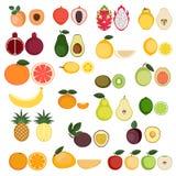 Colección de iconos de las frutas Foto de archivo libre de regalías