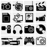 Iconos de las multimedias: foto, vídeo, sistema del vector de la música Imagen de archivo