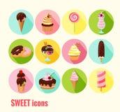 Colección de iconos del dulce del vector Fotos de archivo