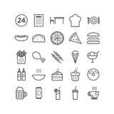 Colección de 25 iconos del esquema de los alimentos de preparación rápida Iconos lineares para el web, apps móviles Imagen de archivo libre de regalías