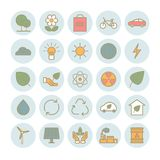Colección de iconos de la ecología del esquema Fotografía de archivo libre de regalías