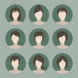 Colección de iconos de la mujer en un estilo plano Avatares femeninos SE Imágenes de archivo libres de regalías
