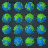 Colección de iconos de la tierra del planeta en estilo geométrico polivinílico bajo moderno ilustración del vector