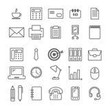 Colección de iconos lineares de materiales de oficina Los iconos finos para el web, impresión, los apps móviles diseñan Imagenes de archivo