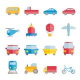 Colección de iconos planos coloridos del transporte del vector Fotos de archivo