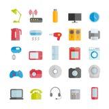 Colección de iconos planos de los dispositivos del vector Fotografía de archivo