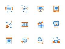 Colección de iconos planos de saludo del amor Fotos de archivo