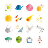 Colección de iconos planos del espacio del vector Iconos planos coloridos para el web, impresión, apps móviles Fotografía de archivo