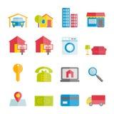 Colección de iconos planos del vector de las propiedades inmobiliarias Fotografía de archivo libre de regalías