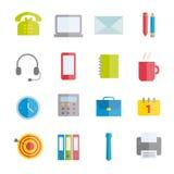 Colección de iconos planos del vector de materiales de oficina Foto de archivo libre de regalías