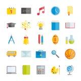 Colección de iconos planos del vector: escuelas y educación Foto de archivo