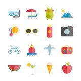 Colección de iconos planos del verano del vector Fotografía de archivo libre de regalías