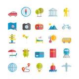 Colección de iconos planos del viaje Imágenes de archivo libres de regalías