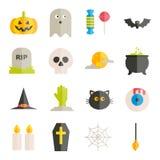 Colección de iconos planos de Halloween del vector Foto de archivo libre de regalías