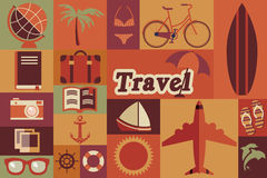 Colección de iconos retros del viaje del vintage plano, diseño plano ilustración del vector