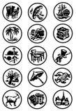 Colección de iconos sobre viaje Imagen de archivo