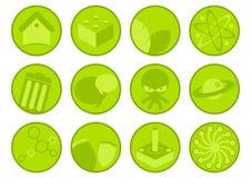 Colección de iconos verdes ilustración del vector