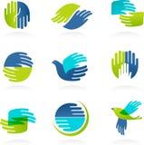 Colección de iconos y de símbolos de las manos ilustración del vector