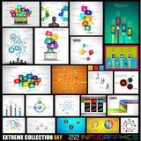 Colección de 22 Infographics para los medios sociales y las nubes Foto de archivo libre de regalías