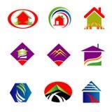 Colección de insignia de las propiedades inmobiliarias Imagen de archivo libre de regalías