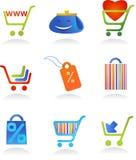 Colección de insignias de las compras Fotografía de archivo